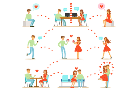 Man And Woman Finding Love And Dating Using Dating Web Sites And App On Smartphones And Computers Infographic Illustration. Cartoon Characters Couple On Dates And Communicating Online Trough Messages And Texts.