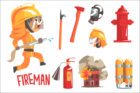 Jongen brandweerman, kinderen toekomstige droom brandweerman professionele bezetting illustratie met gerelateerde aan beroep objecten. Glimlachend kind karton karakter met baan carrière attributen rond schattige vector tekening. Vector Illustratie