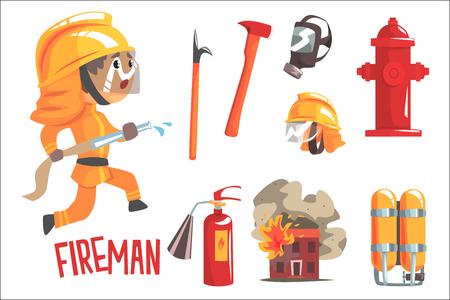 Ragazzo vigile del fuoco, bambini sogno futuro vigile del fuoco occupazione professionale illustrazione con relativi agli oggetti di professione. Sorridente personaggio di cartone del bambino con attributi di carriera intorno al disegno vettoriale carino. Vettoriali