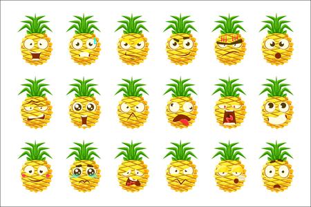 Ananas Cartoon Emoji portretten met verschillende emotionele gezichtsuitdrukking Set Cartoon Stickers. Vector emoticons met heldere kleur fruit karakter en zijn emoties.