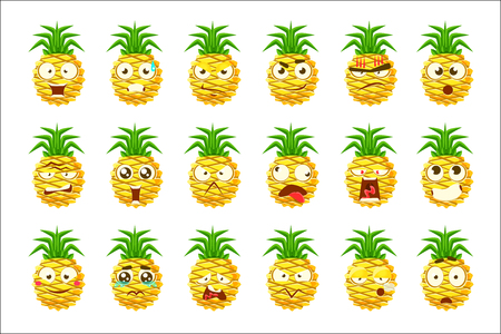 Pineapple Cartoon Emoji Portraits With Different Emotional Facial Expression Set Of Cartoon Stickers. Vector Emoticons With Bright Color Fruit Character And Its Emotions.