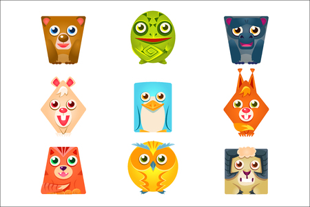 Geometric Shape Flat Cartoon Animals Set Of Colorful Cartoon Isolated Vector Stickers. Childish Friendly Emoji Fauna Characters With Friendly Faces.