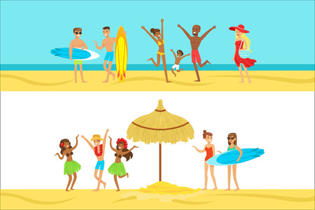 Happy People On Tropical Beach Vacation In Hawaii Surfing And Staying Next To The Sea. Smiling Cartoon Characters Having Holidays In Warm Country On The Sandy Sea Shore.