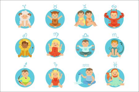 Bébés en douze costumes de signes du zodiaque assis et souriant habillés comme des symboles de l'horoscope Vecteurs