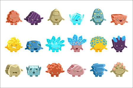 Alien Fantastic Golem Characters Of Different Humanized Rocks With Friendly Faces Emoji Stickers Set. Emoticons With Fantastic Creatures From Another Planet Cartoon Vector Illustrations.