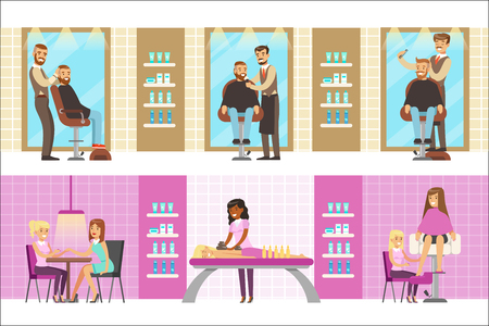 People In Beauty Salon Enjoying Hair And Skincare Treatments And Cosmetic Procedures With Professional Cosmetologists. Set Of Beauty Parlor Cartoon Illustrations With Smiling Happy Clients.
