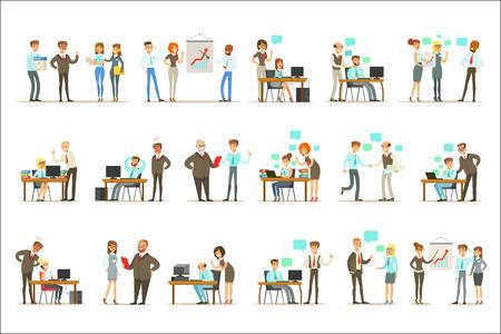 Grand patron gérant et supervisant le travail des employés de bureau ensemble d'illustrations de haut gestionnaire et de travailleurs. Personnages de dessins animés souriants faisant le travail de bureau sous le contrôle du directeur général.