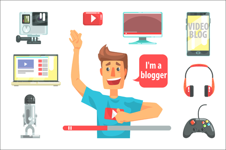 Guy Video Blogger And His Recording Equipment, Set Of Blog And On Line Blogging Icons Around A Show Host. Man Streaming His Personal Podcast And Internet Channel As Profession Vector Illustration. Illustration