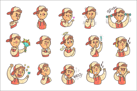 Boy In Cap And College Jacket Collection Of Hand Drawn Emoticon Cool Outlined Portraits. Set Of Funky Flat Vector Stickers With Teenager Different Emotional Facial Expressions In Comics Style.