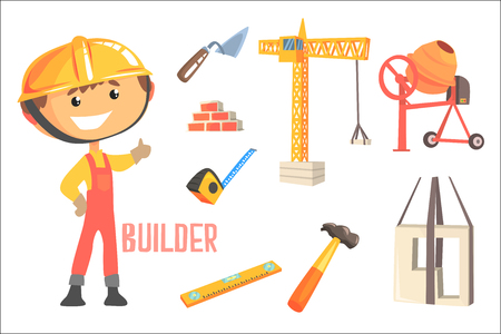 Boy Builder, Kids Future Dream Construction Worker Professional Occupation Illustration With Related To Profession Objects. Smiling Child Carton Character With Job Career Attributes Around Cute Vector Drawing. Stok Fotoğraf - 111694192