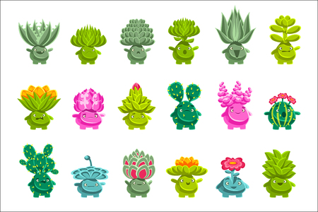 Alien Fantastic Plant Characters With Succulent Vegetation And Humanized Root With Friendly Faces Emoji Stickers Set. Emoticons With Fantastic Creatures From Another Planet Cartoon Vector Illustrations.