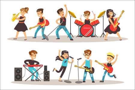 Bambini musicisti esibirsi sul palco il Talent Show colorato illustrazione vettoriale con talentuosi scolaretti concerto. Bambini felici che mostrano i loro talenti artistici in spettacolo Vettoriali