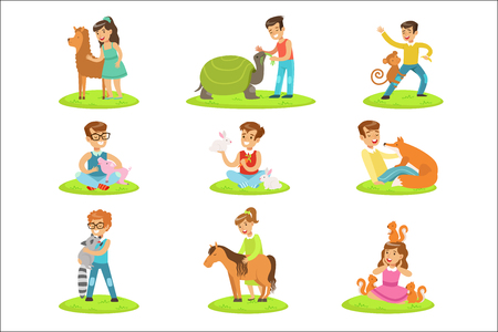 Children Petting The Small Animals In Petting Zoo Collection Of Cartoon Illustrations With Kids Having Fun. Vector Colorful Scenes With Boys And Girls Touching Animal Cubs In Petting Farm.