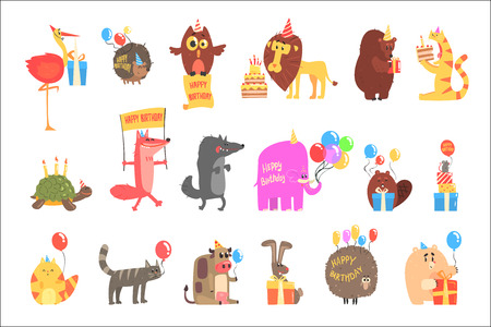 Funky Animals With Party Attributes At The Kids Happy Birthday Celebration Set Of Cartoon Fauna Characters. Comic Vector Illustrations With Festive Accessories And Zoo Animals. Illustration