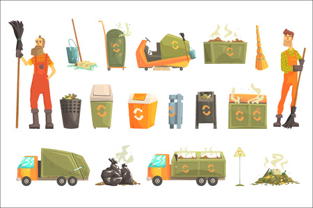 Waste Recycling And Disposal Related Object Around Garbage Collector Man Set Of Cartoon Bright Icons. Trash Cleaning Professional In Dungarees And His Equipment Vector Illustration.