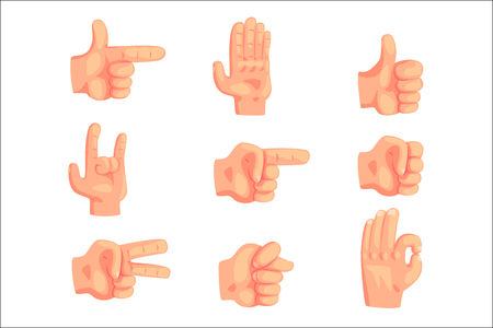 Conceptual Popular Hand Gestures Set Of Realistic Isolated Icons With Human Palm Signaling. Cartoon Vector Illustration Of Series Of Well-Known Concept Gesturing.