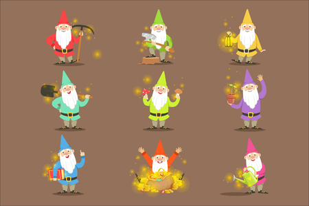 Classic Garden Gnomes In Colorful Outfits Set Of Cartoon Characters Different Situations. Fantastic Magic Creature From Fairy-Tales And Legends Vector Illustration.