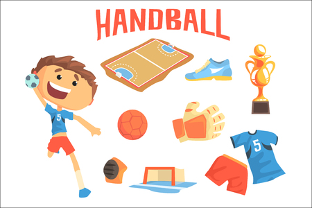Boy Handball Player, Kids Future Dream Professional Sportive Career Illustration With Related To Profession Objects. Smiling Child Carton Character With Sports Attributes Around Cute Vector Drawing.