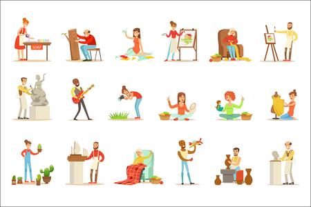 Personnes adultes et leurs loisirs créatifs et artistiques ensemble de personnages de dessins animés faisant leurs choses préférées. Sourire heureux hommes et femmes exprimant leur créativité à travers des illustrations vectorielles de l'art. Vecteurs