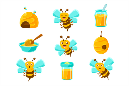 Honey Bees, Beehives And Jars With Yellow Natural Honey Set Of Colorful Cartoon Illustrations. Cute Bee Character With Emotional Face And Beekeeping Themed Objects Collection.