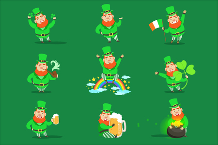 Classic Leprechaun In Green Outfit Set Of Emoji Illustrations With Cartoon Character And Irish Symbols. Fantastic Magic Creature From Fairy-Tales And Legends Vector Drawings.