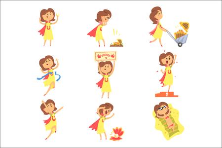 Mujer afortunada que tiene buena suerte y golpe repentino de la fortuna Serie de ilustraciones vectoriales cómicas. Personaje de dibujos animados feliz de tener un amuleto de la suerte y situaciones afortunadas. Ilustración de vector