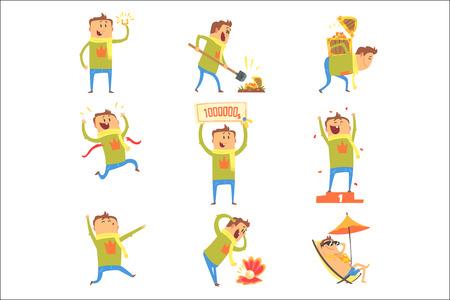 Glücklicher Mann, der viel Glück und plötzlichen Schlaganfall des Glücks hat Serie von Comic-Vektor-Illustrationen. Cartoon-Figur glücklich, einen Glücksbringer und glückliche Situationen zu haben.