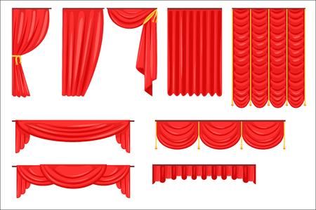 Diferentes tipos de cortina de escenario teatral y cortinas en la colección de vectores de terciopelo rojo. Pañuelos laterales y principales realistas brillantes para la ilustración de dibujos animados de teatro.