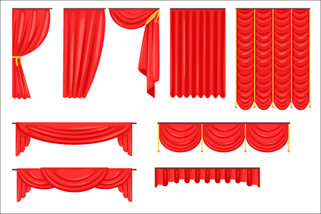 Different Types Of Theatrical Stage Curtain And Drapes In Red Velour Vector Collection. Bright Realistic Side And Main Drapers For Theatre Cartoon Illustration.