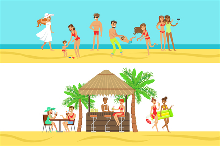 Happy People On Tropical Beach Vacation In Hawaii Having Drink At Beach Bar And Staying Next To Sea. Smiling Cartoon Characters Having Holidays In Warm Country On The Sandy Sea Shore. Ilustração