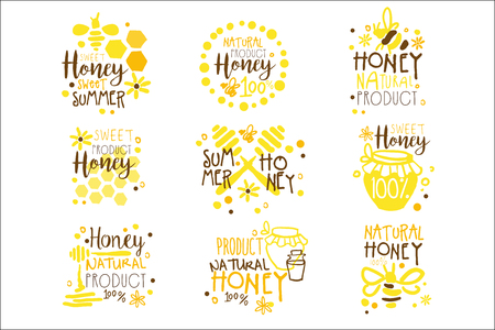 Natural Honey Products 100 Percent Organic Set Of Colorful Promo Sign Design Templates With Bees And Honeycombs Illustration