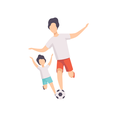 Father and son playing soccer, Dad and his kid having fun together vector Illustration isolated on a white background. Banque d'images - 111655197