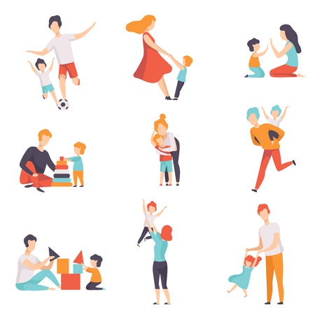 Parents and their kids having good time together set, Mom and Dad playing, doing sports, having fun with their children vector Illustrations isolated on a white background. Ilustracja