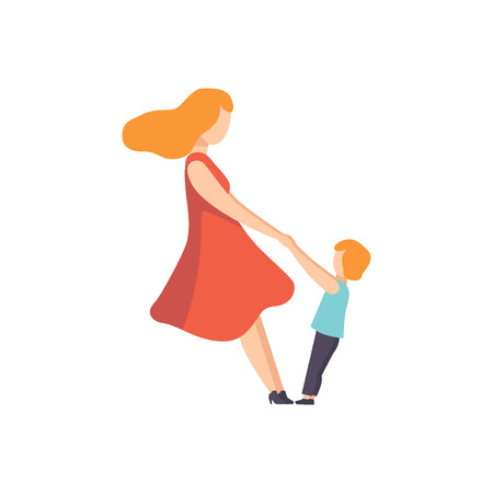 Mother holding her son by hands, Mom playing with her kid vector Illustration isolated on a white background.  イラスト・ベクター素材