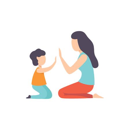 Mère jouant Patty Cake avec son fils, maman et son enfant s'amuser ensemble vector Illustration isolé sur fond blanc. Vecteurs