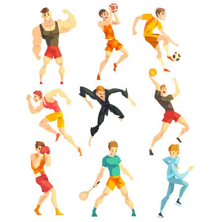 Gens sportifs faisant divers types de sports, personnages sportifs en uniforme avec équipement, illustrations vectorielles isolées sur fond blanc.