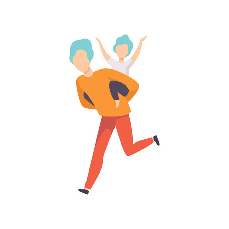 Father running with son sitting on his back, Dad and his kid having good time together vector Illustration isolated on a white background. Banque d'images - 111655203