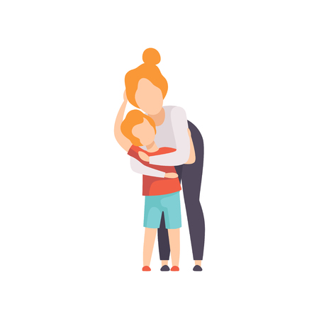 Mother hugging her son, Mom and her kid having good time together vector Illustration isolated on a white background.