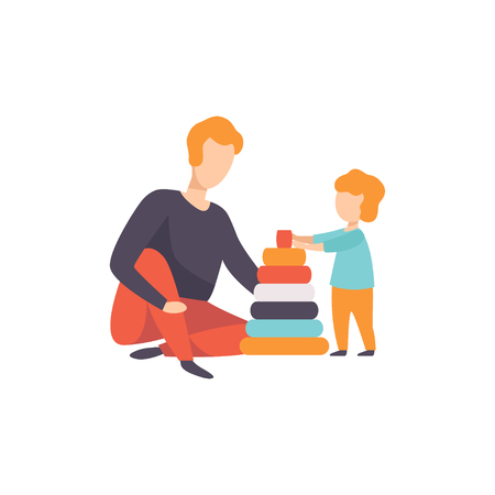 Father playing pyramid toy with his son, Dad and his kid having good time together vector Illustration isolated on a white background. Banque d'images - 111655205