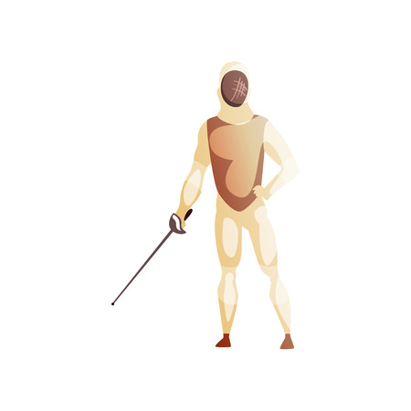 Man wearing fencing suit standing with sword, male fencing athlete character, active sport lifestyle vector Illustration isolated on a white background. Banco de Imagens - 107019288