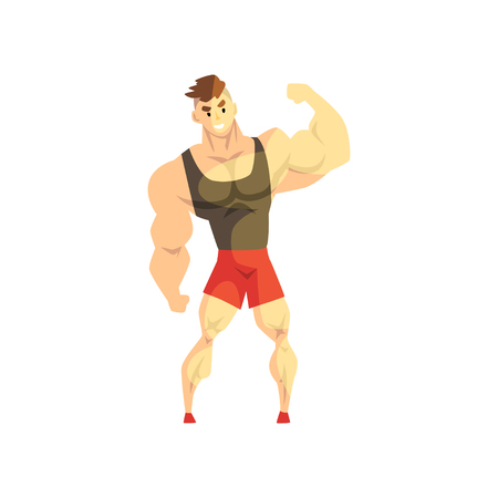 Strong muscular athletic man, sportsman character in uniform, active sport lifestyle vector Illustration isolated on a white background.