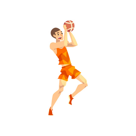 Male volleyball player, sportsman character playing with ball, active sport lifestyle vector Illustration isolated on a white background.
