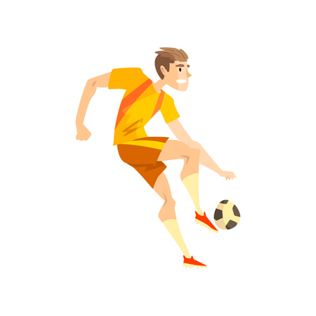 Male soccer player, sportsman character kicking a ball, active sport lifestyle vector Illustration isolated on a white background.