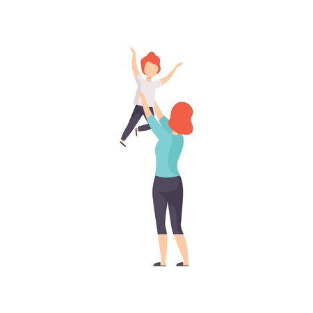 Mother throwing her daughter up and catching her, Mom playing with her kid vector Illustration isolated on a white background. Illusztráció