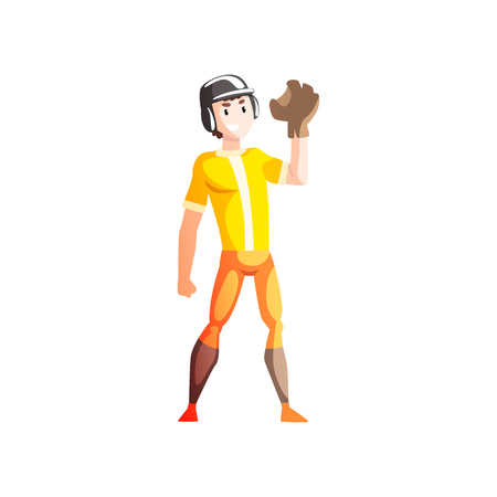 Baseball catcher player, male sportsman character in uniform, active healthy lifestyle vector Illustration isolated on a white background. Illustration