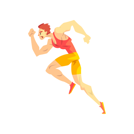 Running man, sportsman character in uniform, active sport lifestyle vector Illustration isolated on a white background.