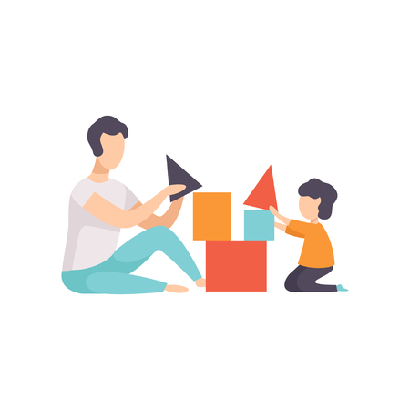 Father playing toy cubes with his son, Dad and his kid having good time together vector Illustration isolated on a white background. Banque d'images - 107020982