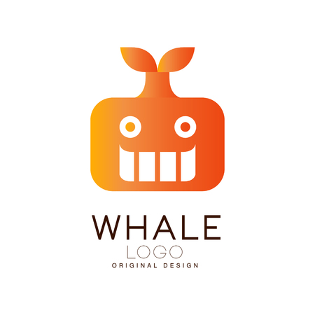 Whale design, creative badge with whale can be used for brand identity, travel agency, shipping company, seafood market, pool vector Illustration