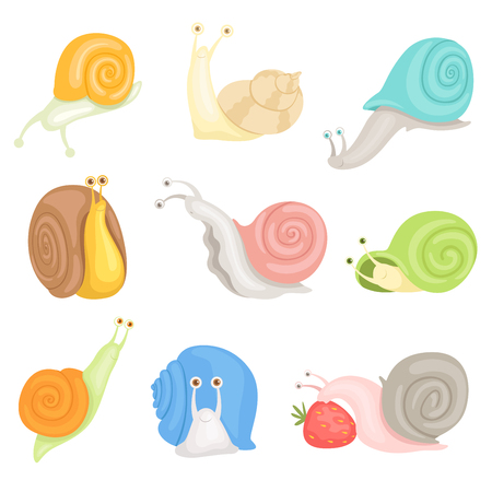 Vrolijke kleine tuinslakken set, schattige kokkels met kleurrijke schelpen vector illustraties op een witte achtergrond Vector Illustratie
