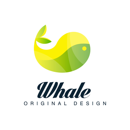 Whale original design, emblem can be used for brand identity, travel agency, shipping company, seafood market, pool vector Illustration on a white background Vettoriali